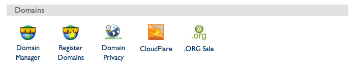 screengrab of a CPanel screen showing a link to CloudFlare