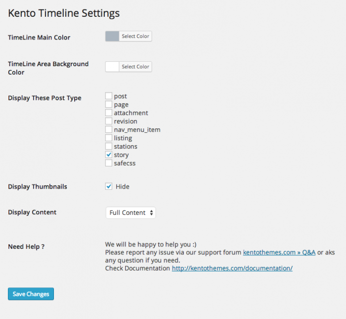 Screenshot fo the Timeline Pro settings page