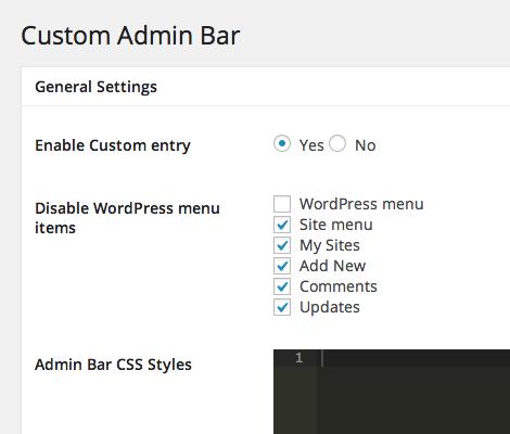 Custom Admin Bar