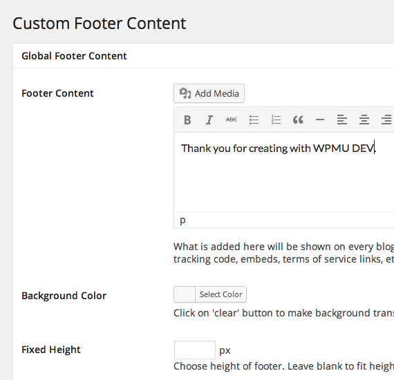Global Footer Content