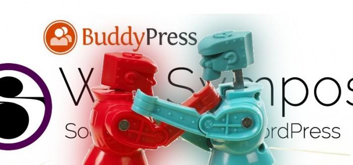 Composite image of Rock'em robots and WP Symposium Pro and BuddyPress logos