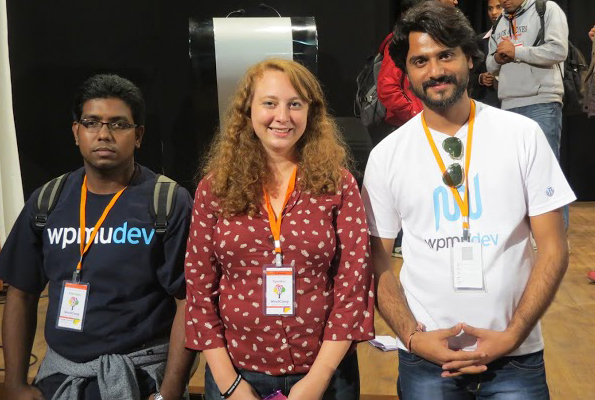 Ashok and PC with former WPMU DEV writer Siobhan McKeown at WordCamp Baroda in January.