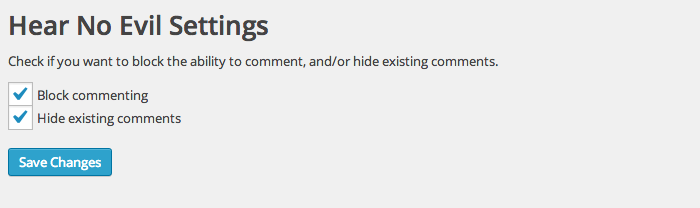 Settings page for Hear No Evil plugin showing two options