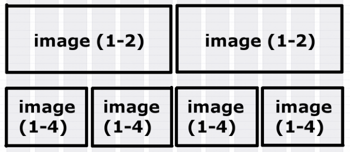 Mockup of a 2 and 4 image grid