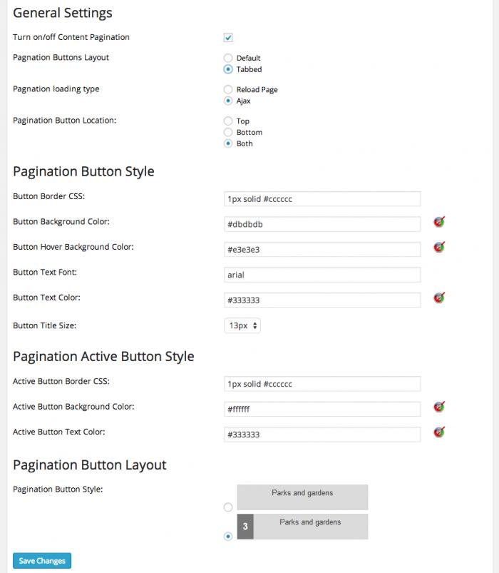 Screengrab of the ACP settings page