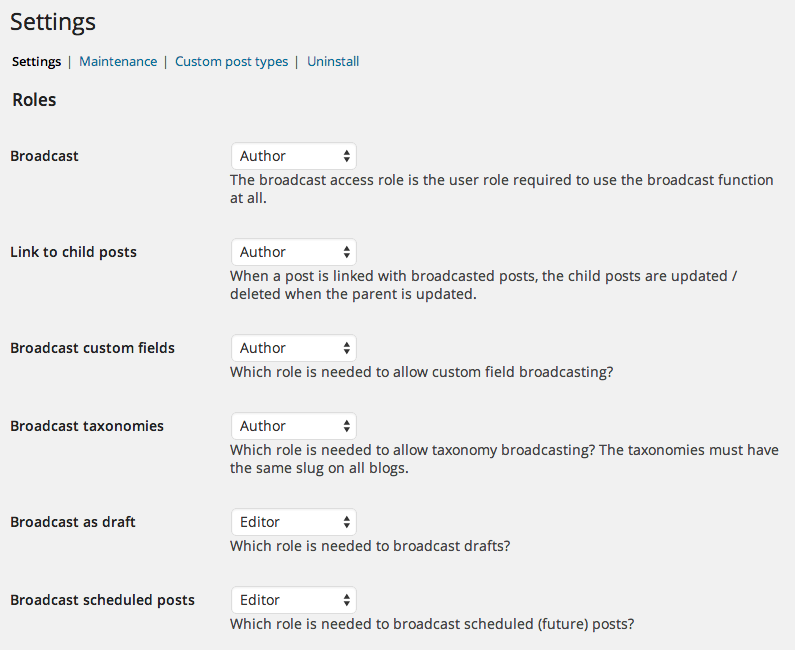 Settings page showing the setting of roles against features