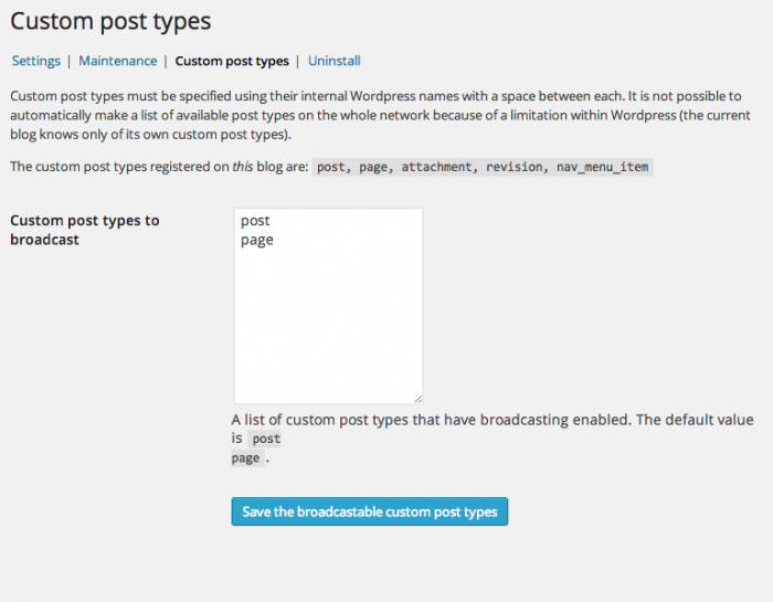 Settings screen that allows post types to be selected for broadcasting