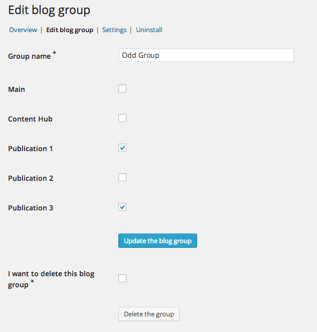 Selecting the blogs for a particular group