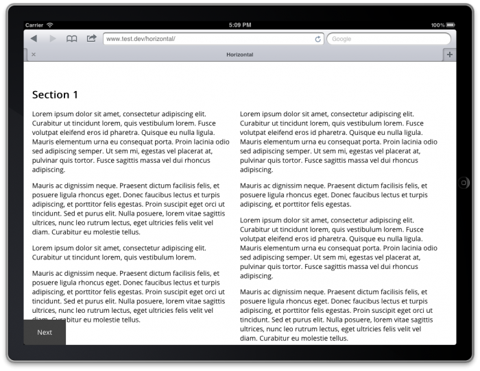 Screenshot of a two columns of text on a tablet