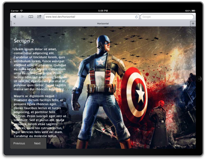 Screenshot from a tablet with a full screen image of Captain America and sample text covering 30% of the page