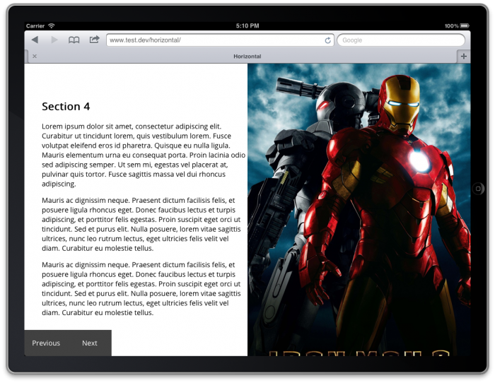 Screengrab of a page with an image of Iron Man taking up the right-hand half of the page