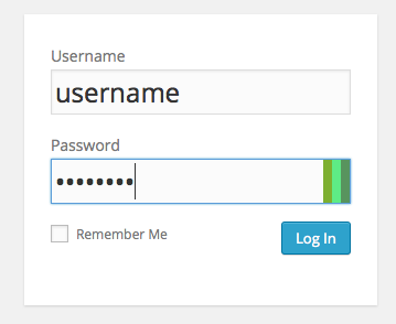 WordPress login form with chroma-hash showing on a completed password field