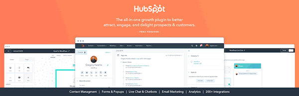 Screenshot of HubSpot, a free CRM that lets WordPress users manage all their contacts in one place.