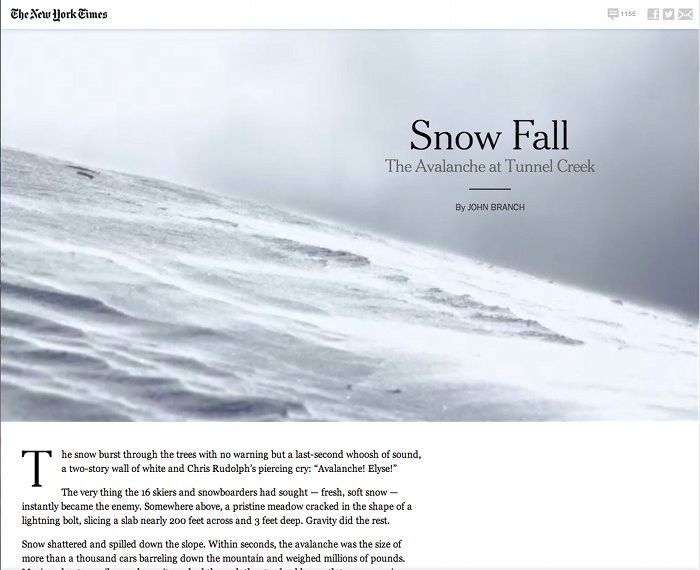 Screenshot of the title page of Snow Fall