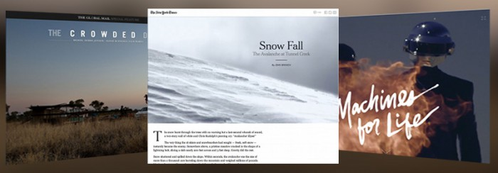 Screenshot of the NYT's Snowfall, The Global Mail's Crowded Desert and PitchFork's Daft Punk feature