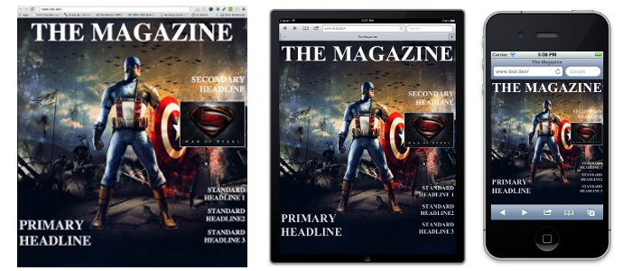 Screenshots of the magazine cover on a desktop, iPad and iPhone