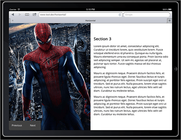 Screenshot with image of Spider-Man talking up the full left-hand half of the page