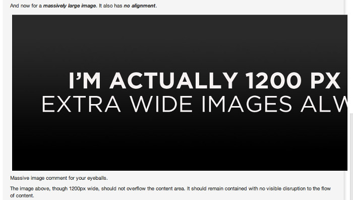 Screengrab highlighting an issue with an image which is too wide