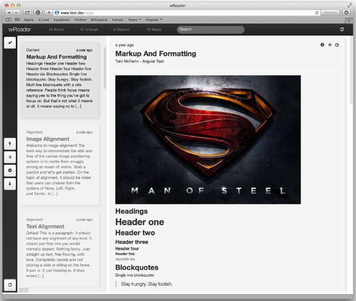 Screenshot of the wReader app running with the content from a WordPress site
