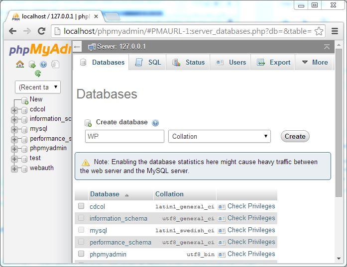 XAMPP MySQL database