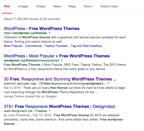 Screengrab of the Google search results for free wordpress themes