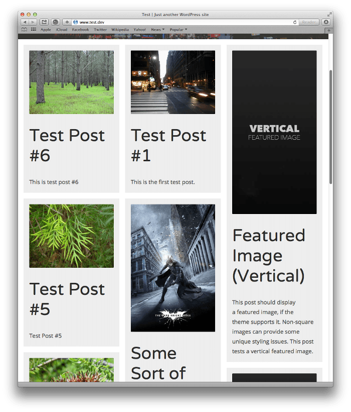 Screenshot of post listing with masonry CSS applied