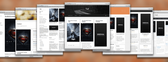 Composite image of the screenshots of the 7 shortlisted themes