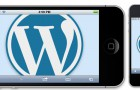 WordPress logo in an iPhone in landscape and an iPhone in portrait