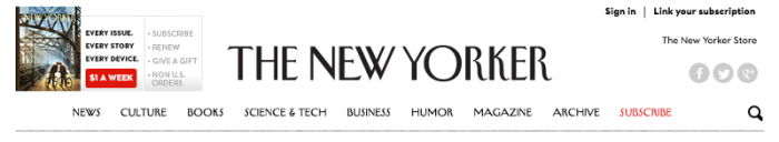 The New Yorker header on initial display