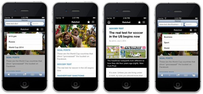 Four screenshots of the mobile theme running on an iPhone