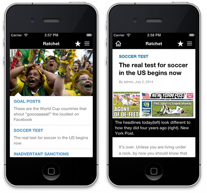 iPhone screenshots of the home page and a single post