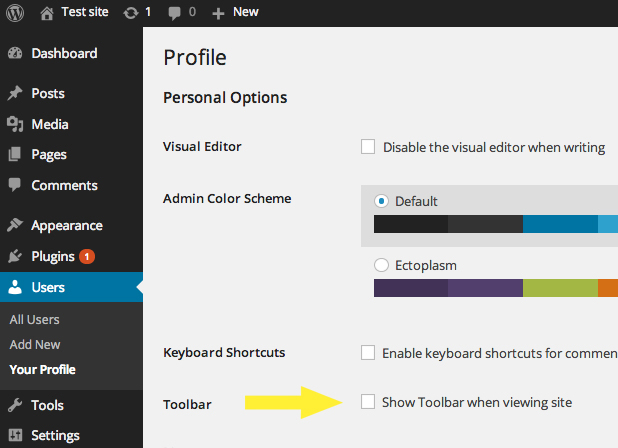 How to Remove the WordPress Admin Toolbar From Your Site
