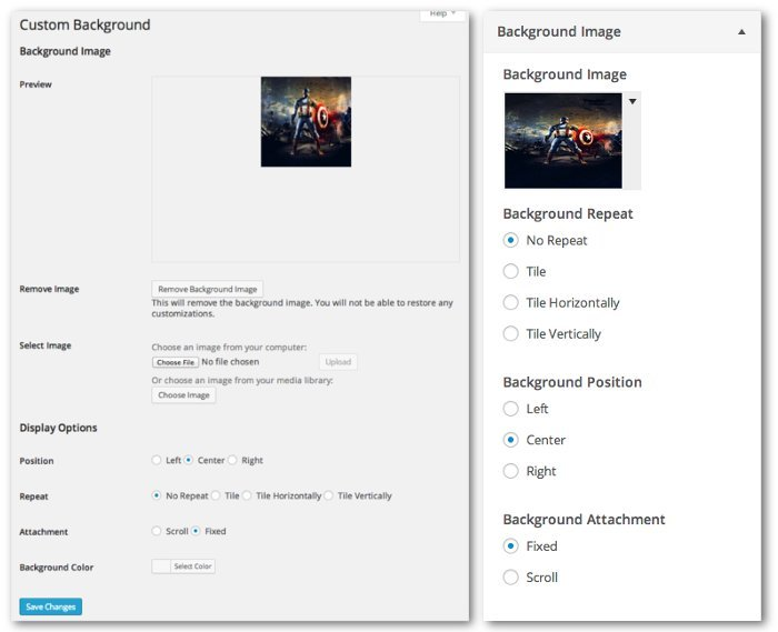 Screengrab of the Background settings page and the Background Image tab in the theme customizer