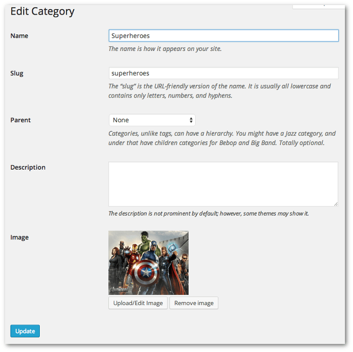 Screengrab of the category edit page showing the featured image