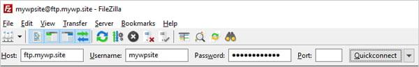 Screenshot of FTP client login details.