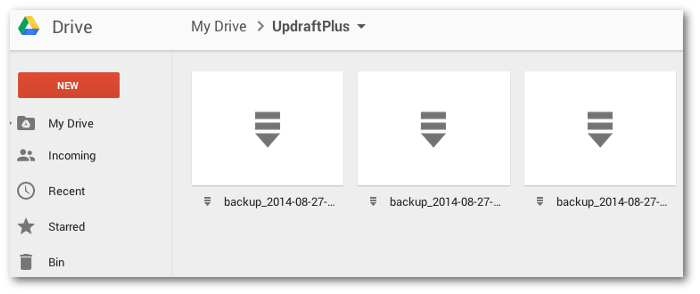 Screengrab of the UpdraftPlus folder in Google Drive