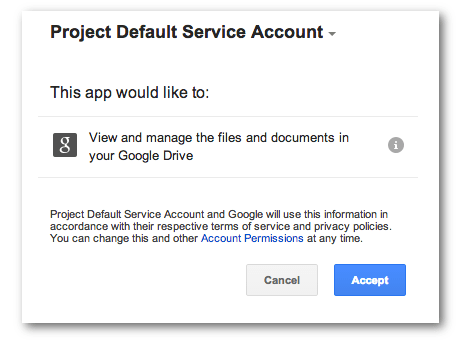 Screengrab showing the dialog to authorize access to the GDrive project