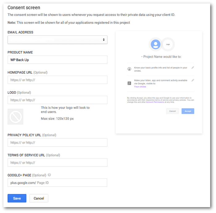 Screengrab of the Consent form in the Google Project Console.
