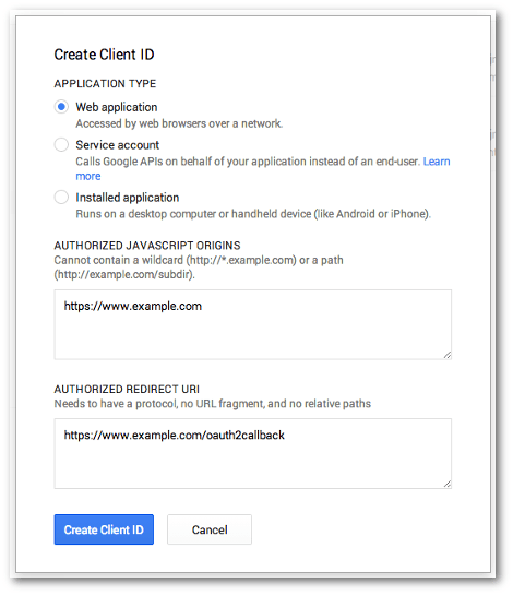 Screengrab of the Google Project Create Client ID dialog