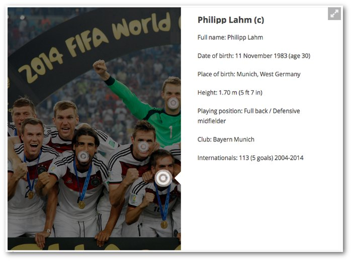 Screenshot of an overlay for Philipp Lahm on the dimmed German World Cup winning squad