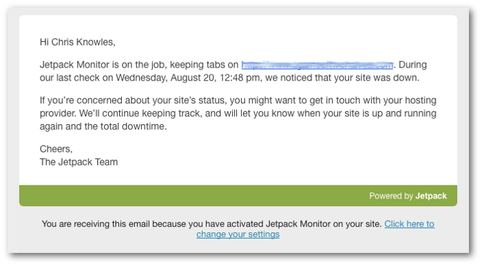 A screengrab of the Monitor email about a site being down