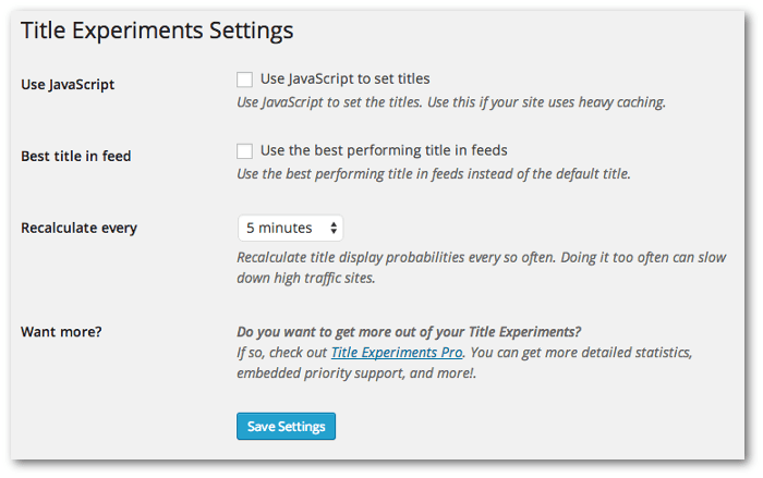 Screengrab of the WordPress settings page for this plugin