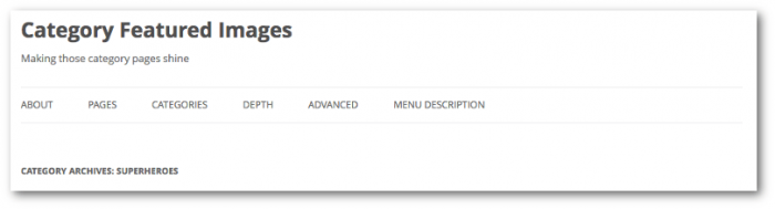 Screengrab showing out-of-the-box Twenty Twelve category page header