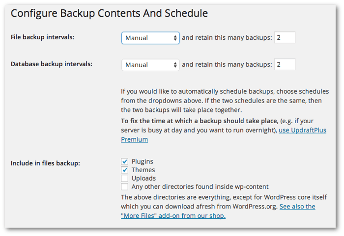 Screengrab of the Configure Backup Contents And Schedule options for UpddraftPlus