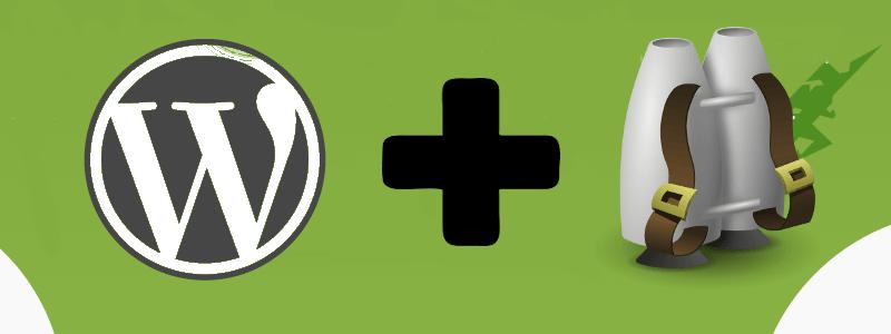 Composite image of WordPress logo and jetpack
