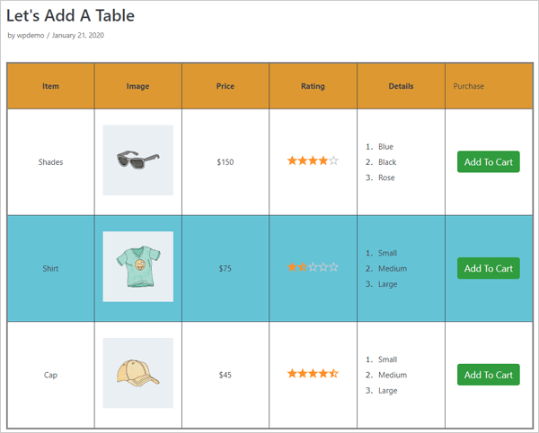 WP Table Builder demo table.