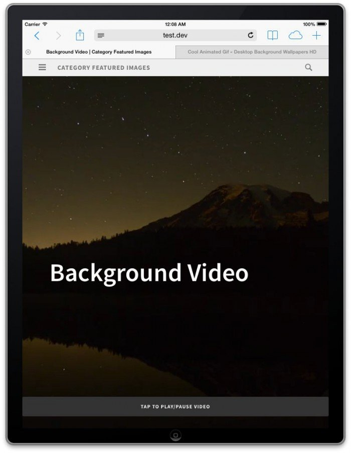 Screenshot of post with fullscreen background video on an iPad with 'tap to play' button visible
