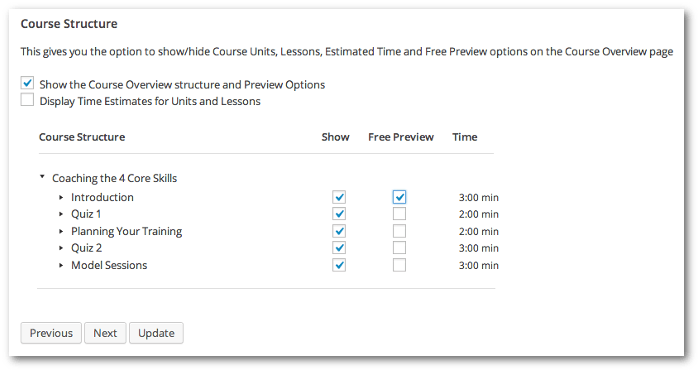 Screengrab showing the Course Structure admin where  units can be selected for free previewing
