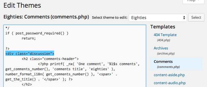 Screengrab of the comments template for the Eighties theme in the WordPress theme editor