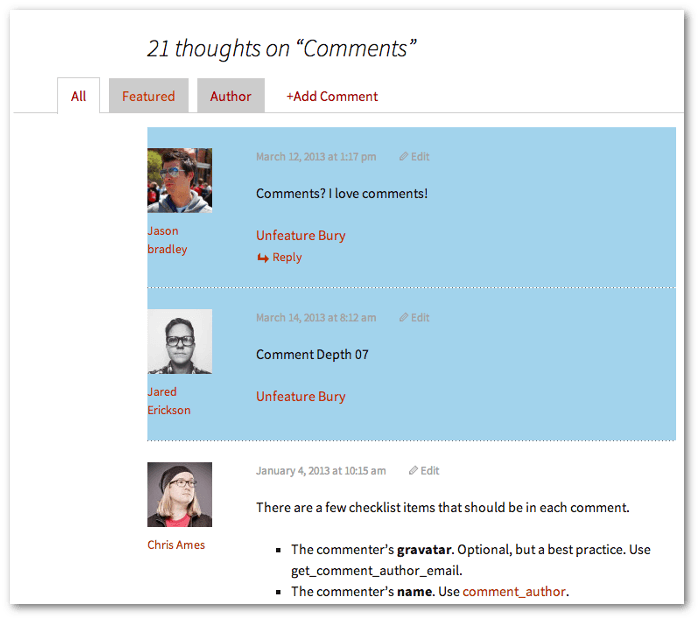 Screengrab of the top of a comment list complete with 3 tabs (all, featured, author) and CSS styling